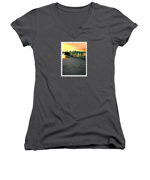 Sea Gulls On Pilings  At Sunset Women's V-Neck T-Shirt (Junior Cut) by Elaine Plesser