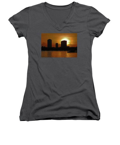 Women's V-Neck T-Shirt (Junior Cut) featuring the photograph 2- Singer Island by Joseph Keane