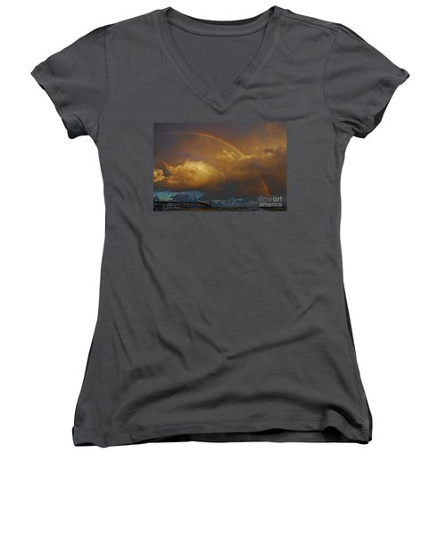 Women's V-Neck T-Shirt (Junior Cut) featuring the photograph 2- Singer Island Stormbow by Rainbows