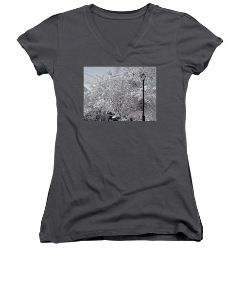 Snow Covered Trees Women's V-Neck T-Shirt (Junior Cut) by Catherine Gagne