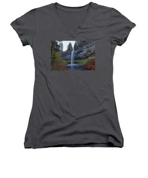 South Falls At Silver Falls State Park Women's V-Neck (Athletic Fit)