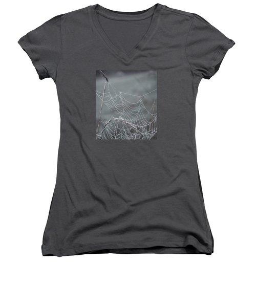 Spiderweb Droplets Women's V-Neck T-Shirt (Junior Cut) by Nikki McInnes