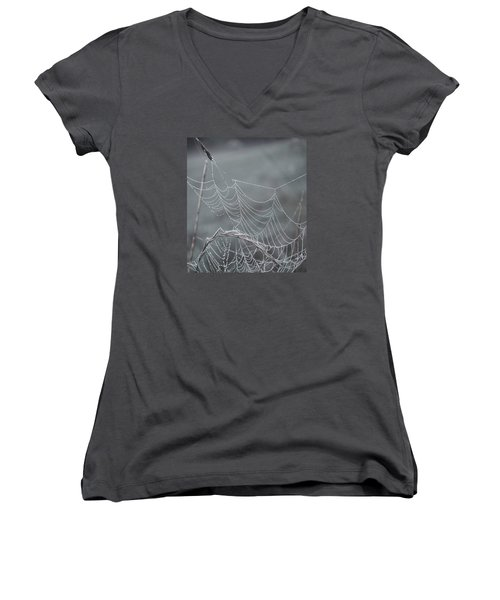 Spiderweb Droplets Women's V-Neck T-Shirt