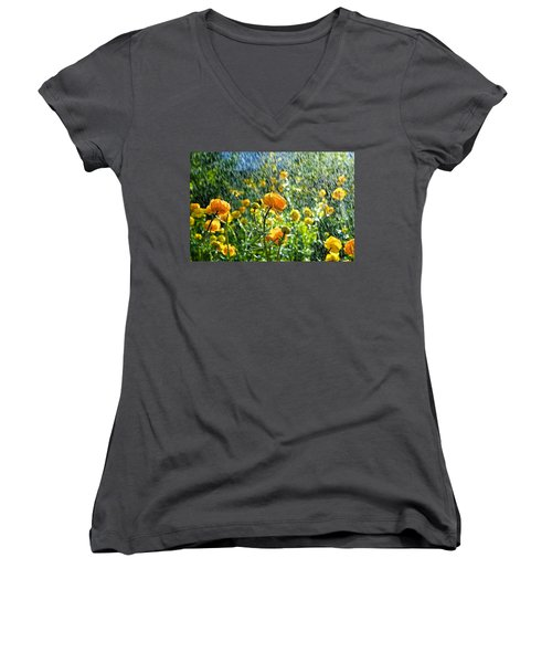 Spring Flowers In The Rain Women's V-Neck T-Shirt (Junior Cut) by Tamara Sushko