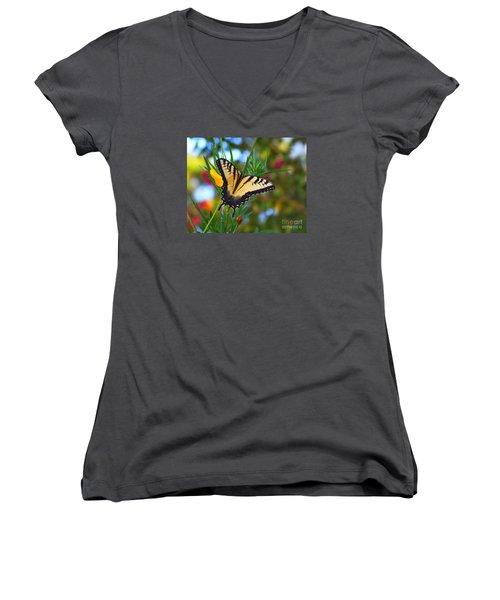 Swallowtail Butterfly Women's V-Neck T-Shirt (Junior Cut) by Scott Cameron