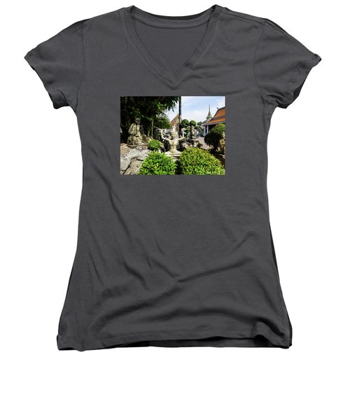 Thai Yoga Statue At Famous Wat Pho Temple Women's V-Neck (Athletic Fit)