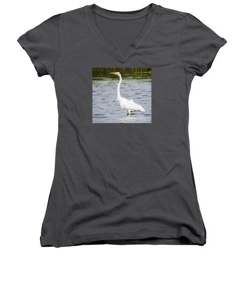 Women's V-Neck T-Shirt (Junior Cut) featuring the photograph The Great White Egret by Ricky L Jones