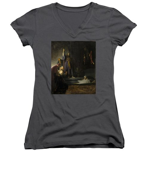 The Raising Of Lazarus Women's V-Neck T-Shirt (Junior Cut) by Rembrandt