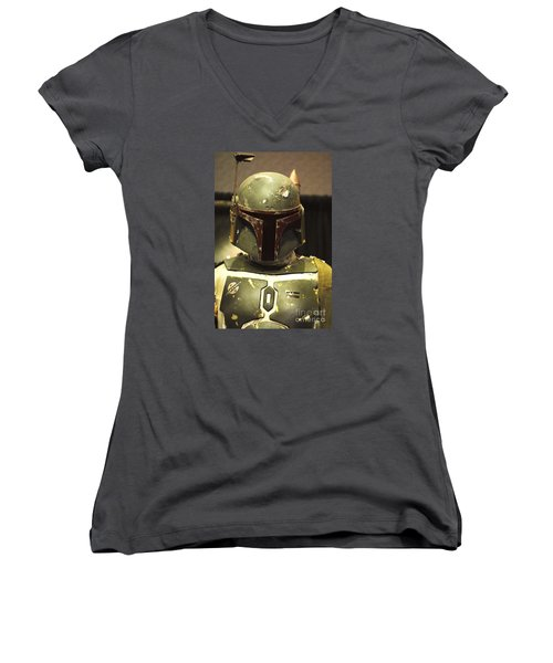 The Real Boba Fett Women's V-Neck T-Shirt (Junior Cut) by Micah May