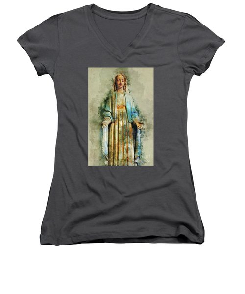 The Virgin Mary Women's V-Neck (Athletic Fit)