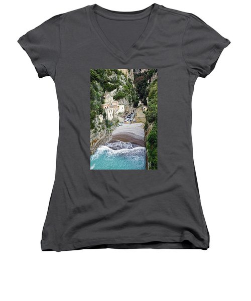 This Is A View Of Furore A Small Village Located On The Amalfi Coast In Italy  Women's V-Neck (Athletic Fit)
