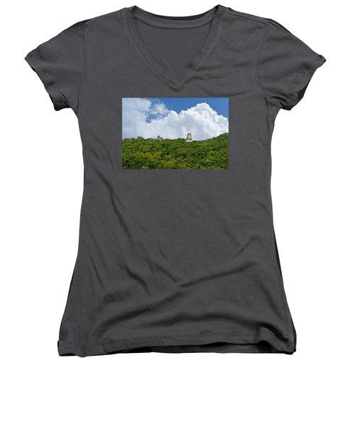 Tikal, Guatemala Women's V-Neck T-Shirt (Junior Cut) by Marius Sipa