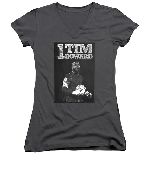 Tim Howard Women's V-Neck T-Shirt (Junior Cut) by Semih Yurdabak