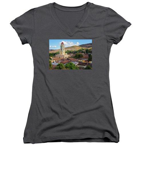 Women's V-Neck T-Shirt (Junior Cut) featuring the photograph Trinidad Cuba Cityscape II by Joan Carroll