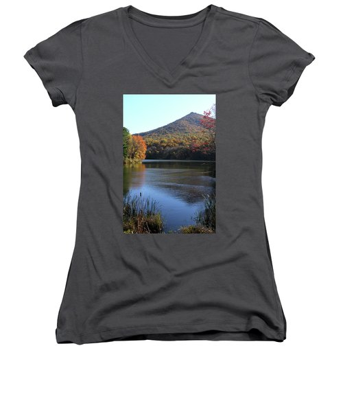 View Of Abbott Lake And Sharp Top In Autumn Women's V-Neck