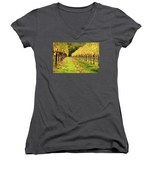 Vineyard In The Fall Women's V-Neck