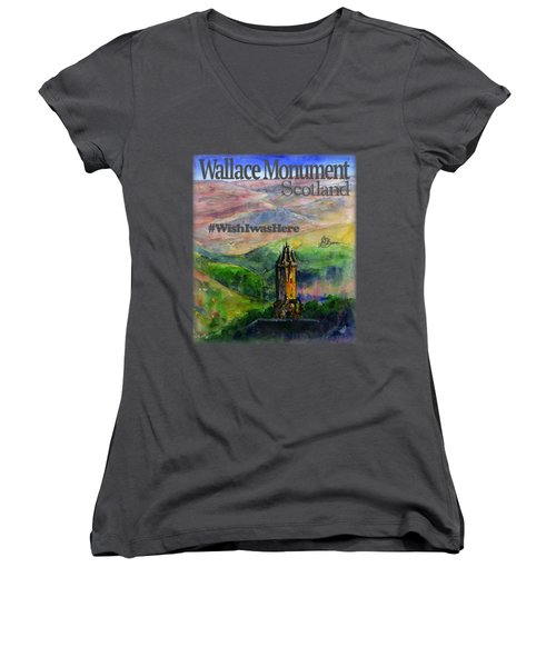 Wallace Monument Scotland Women's V-Neck (Athletic Fit)