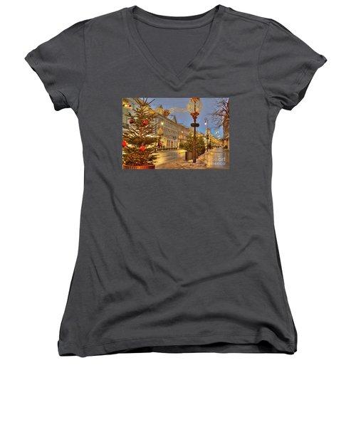 Women's V-Neck T-Shirt (Junior Cut) featuring the photograph Warsaw, Poland by Juli Scalzi