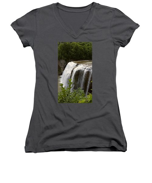 Women's V-Neck T-Shirt (Junior Cut) featuring the photograph Waterfall by Raymond Earley
