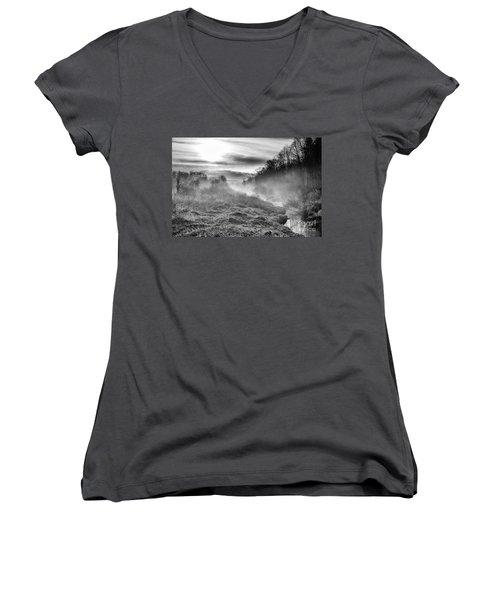Women's V-Neck T-Shirt (Junior Cut) featuring the photograph Winter Mist by Thomas R Fletcher