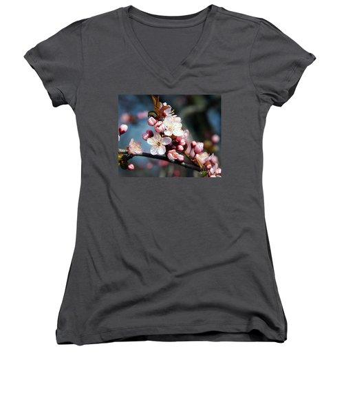 Tree Blossoms Women's V-Neck T-Shirt (Junior Cut) by Elvira Ladocki