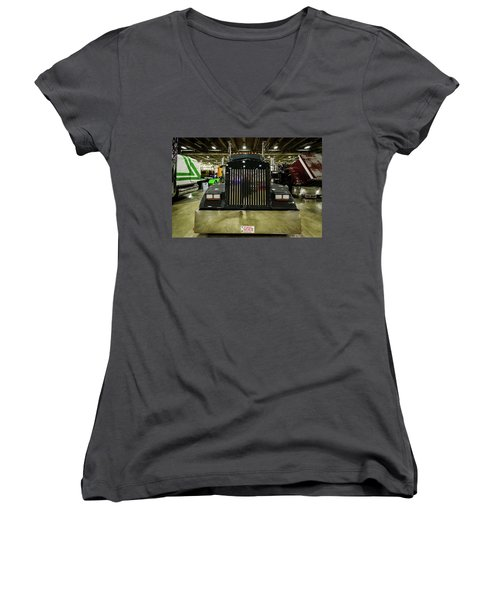Women's V-Neck T-Shirt (Junior Cut) featuring the photograph 2000 Kenworth W900 by Randy Scherkenbach