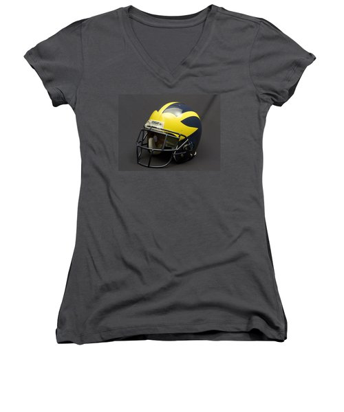 Women's V-Neck (Athletic Fit) featuring the photograph 2000s Era Wolverine Helmet by Michigan Helmet