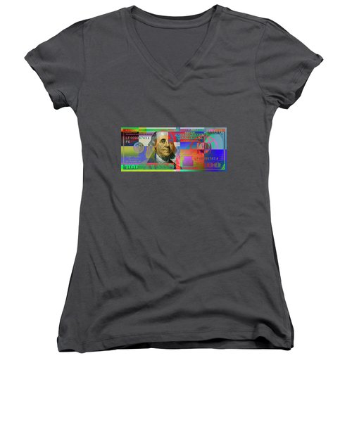 2009 Series Pop Art Colorized U. S. One Hundred Dollar Bill No. 1 Women's V-Neck T-Shirt (Junior Cut) by Serge Averbukh