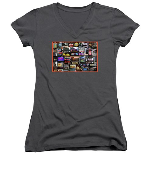 Women's V-Neck T-Shirt (Junior Cut) featuring the photograph 2016 Broadway Fall Collage by Steven Spak