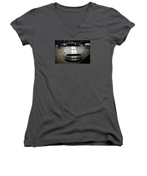2016 Preproduction Ford Mustang Shelby Gt350 Women's V-Neck T-Shirt (Junior Cut) by Mike Martin