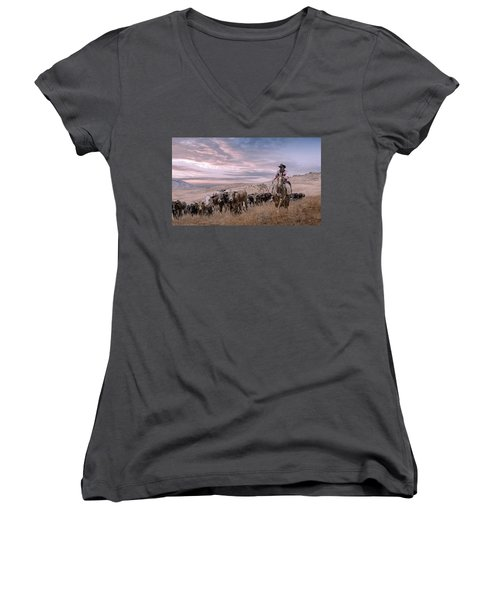 2016 Reno Cattle Drive Women's V-Neck T-Shirt (Junior Cut) by Rick Mosher