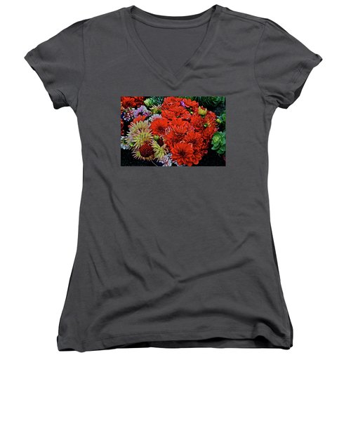 2017 Mid October Monona Farmers' Market Buckets Of Blossoms 1 Women's V-Neck
