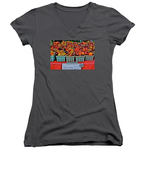 2017 Monona Farmers' Market August Heirloom Cherry Tomatoes Women's V-Neck (Athletic Fit)