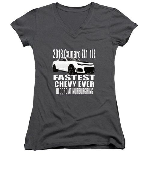 2018 Camaro Zl1 1le Women's V-Neck (Athletic Fit)