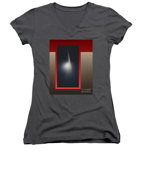 Women's V-Neck T-Shirt (Junior Cut) featuring the digital art 2053-2 2017 by John Krakora