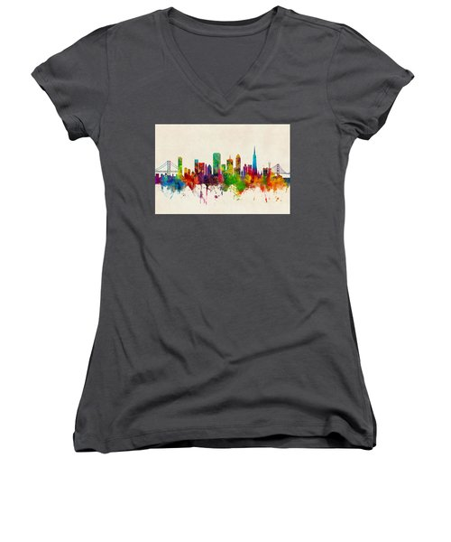 San Francisco City Skyline Women's V-Neck