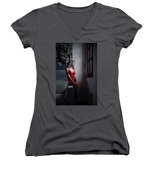 Women's V-Neck T-Shirt (Junior Cut) featuring the photograph Tu M'as Promis by Traven Milovich