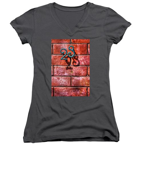 Women's V-Neck T-Shirt (Junior Cut) featuring the photograph 23 by Paul Wear