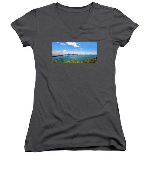 25th April Bridge Lisbon Women's V-Neck T-Shirt