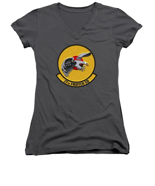 Women's V-Neck T-Shirt (Junior Cut) featuring the digital art 27th Fighter Squadron - 27 Fs Over Blue Velvet by Serge Averbukh