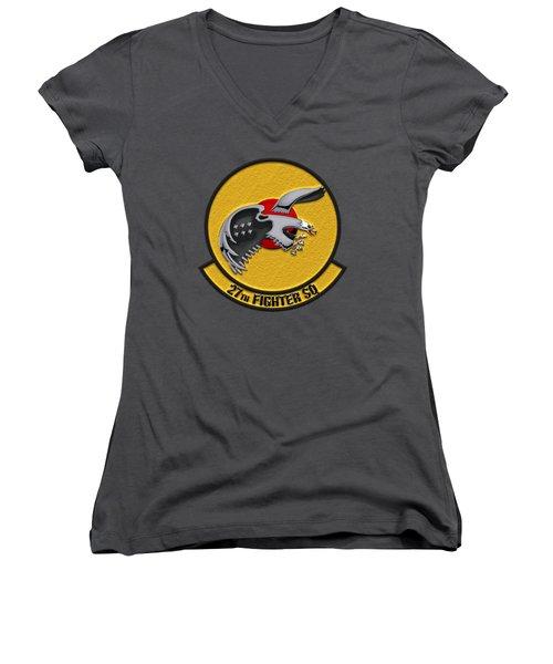 27th Fighter Squadron - 27 Fs Over Blue Velvet Women's V-Neck T-Shirt (Junior Cut) by Serge Averbukh