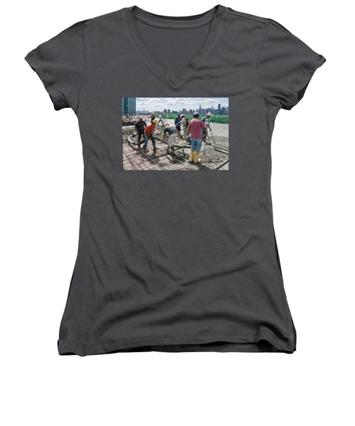 27th Street Lic 1 Women's V-Neck T-Shirt (Junior Cut) by Steve Sahm
