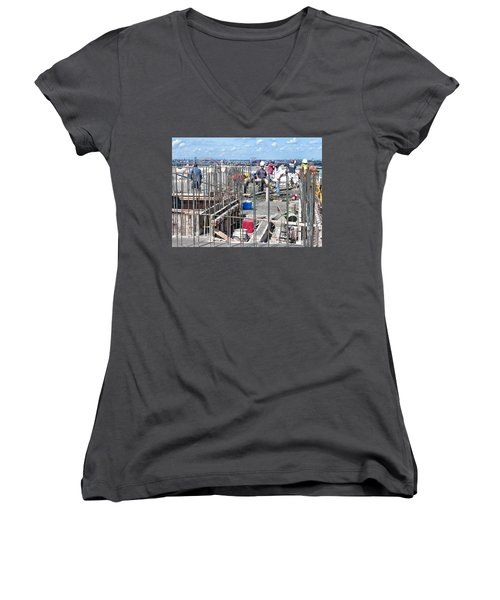 27th Street Lic 2 Women's V-Neck T-Shirt (Junior Cut) by Steve Sahm