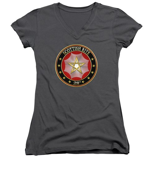 28th Degree - Knight Commander Of The Temple Jewel On Red Leather Women's V-Neck (Athletic Fit)