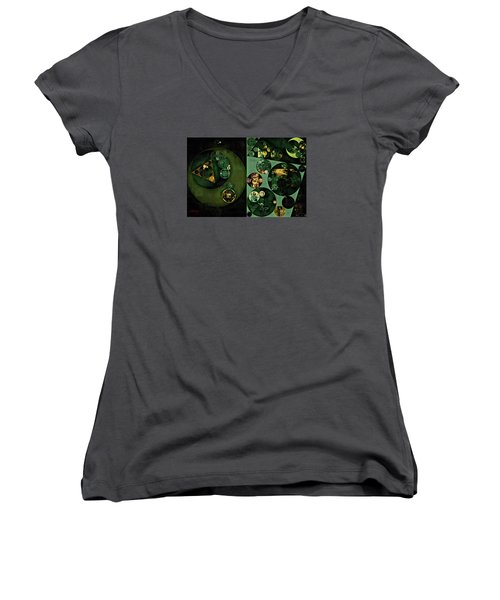 Women's V-Neck T-Shirt (Junior Cut) featuring the digital art Abstract Painting - Smoky Black by Vitaliy Gladkiy