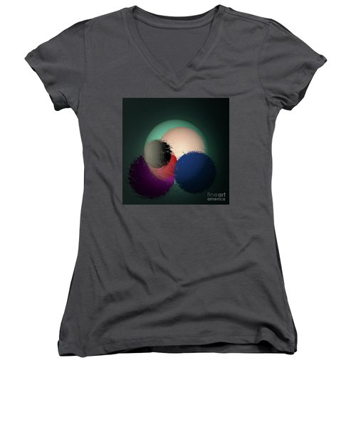 Women's V-Neck T-Shirt (Junior Cut) featuring the digital art 2986-2017 by John Krakora