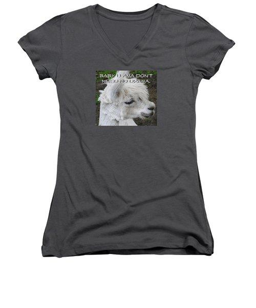 Baby Llama Women's V-Neck T-Shirt (Junior Cut) by Ellen Henneke