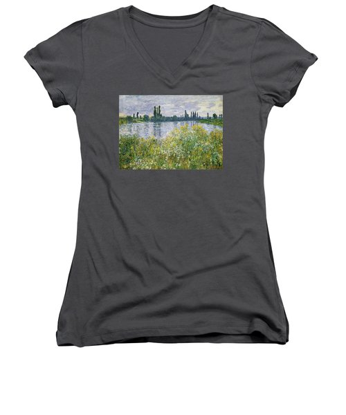 Banks Of The Seine, Vetheuil Women's V-Neck