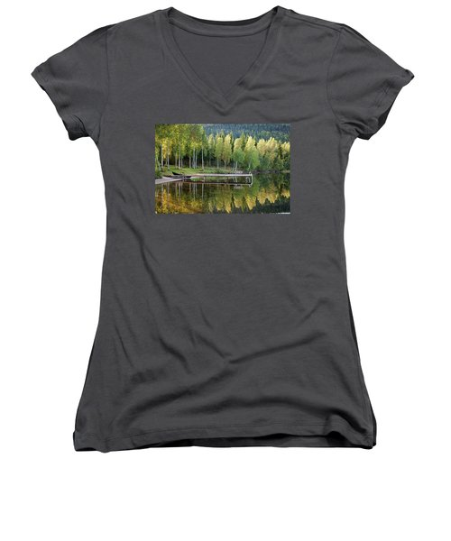 Birches And Reflection Women's V-Neck (Athletic Fit)
