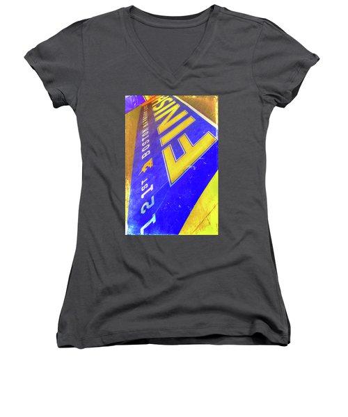 Women's V-Neck T-Shirt (Junior Cut) featuring the photograph Boston Marathon Finish Line by Joann Vitali